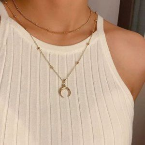Dainty Gold Layered Crescent Moon Bead Necklace